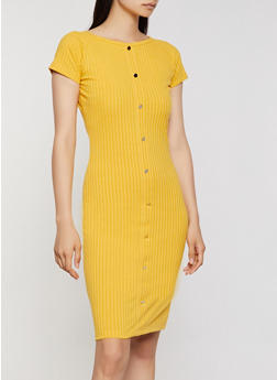 Ribbed Button Bodycon Dress - 0094062125467