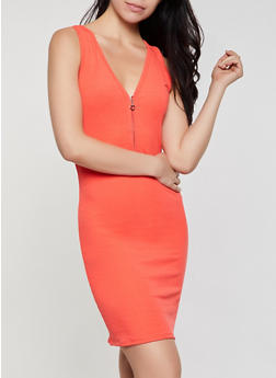 Ribbed Zip Neck Midi Tank Dress - 0094062126192
