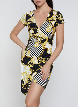 Checkered Status Print Faux Wrap Bodycon Dress - 0094069390240