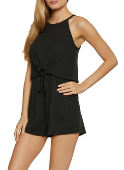 Ribbed Tie Front Romper - 0094069390659