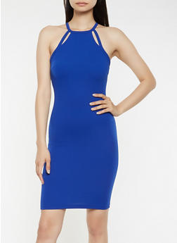 Textured Knit Cut Out Bodycon Dress - 0094069393661