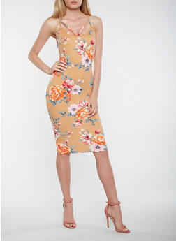 Caged Neck Printed Midi Dress - 0094069393888