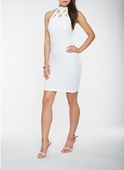 Caged Neck Bodycon Dress - 0094069394019