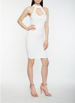 Crochet Trim Bodycon Dress - 0094069394020