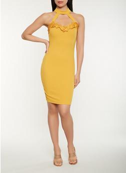 Crochet Trim Bodycon Dress - 0094069394020