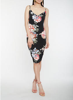 Floral Drape Neck Tank Dress - 0094069394023