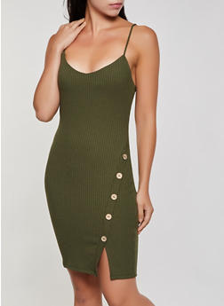 Ribbed Button Detail Cami Dress - 0094069394241