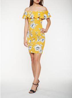 Printed Off the Shoulder Midi Dress - 0094069394890