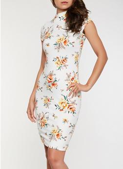 Floral Soft Knit Bodycon Dress - 0094069395889