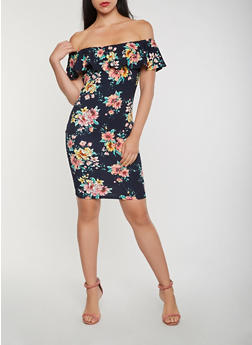 Floral Off the Shoulder Bodycon Dress - 0094069395890