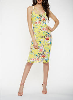 Floral Caged Soft Knit Bodycon Dress - 0094069396888