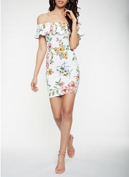 Printed Off the Shoulder Dress - 0094069396890