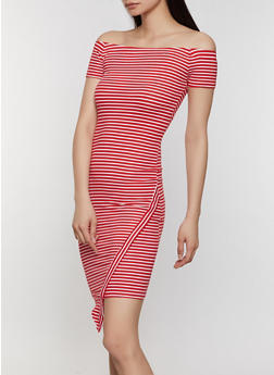 Off the Shoulder Asymmetrical Striped Dress - 0094073372004