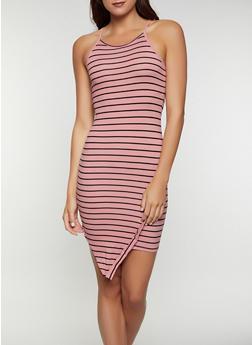 Asymmetrical Hem Striped Tank Dress - 0094073372005