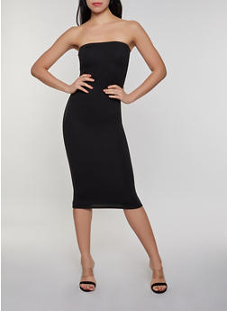 Ruched Solid Tube Dress - Black - Size M - 0094073372007