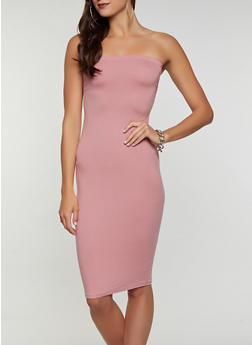 Ruched Solid Tube Dress - 0094073372007