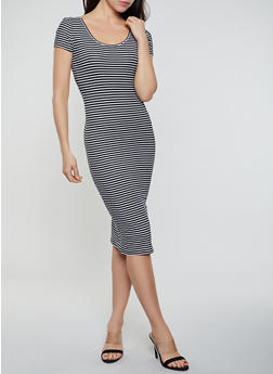 Striped Soft Knit Bodycon T Shirt Dress - 0094073372303