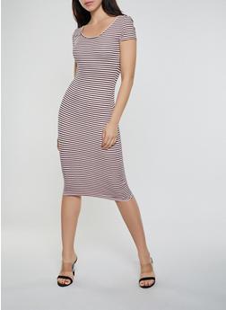 Striped Soft Knit Bodycon T Shirt Dress - 0094073372303