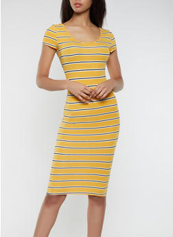 Soft Knit Striped T Shirt Dress - 0094073372304