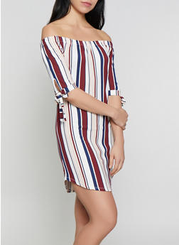 Striped Off the Shoulder Tie Sleeve Dress - 0094073372306