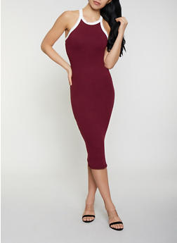 Contrast Trim Bodycon Tank Dress - 0094073372401