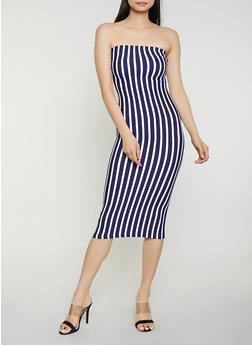 Soft Knit Striped Midi Tube Dress - 0094073372705