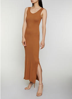 Side Slit Solid Tank Maxi Dress - 0094073372707