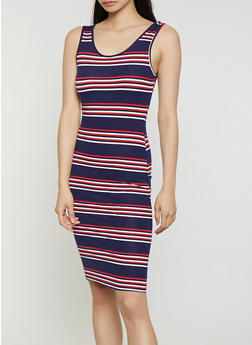 Soft Knit Horizontal Stripe Tank Dress - 0094073372901