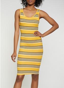 Soft Knit Horizontal Stripe Tank Dress - 0094073372901