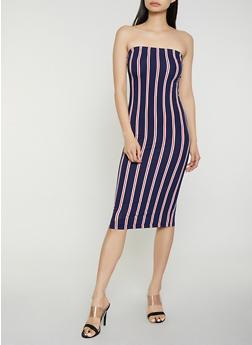 Striped Soft Knit Midi Tube Dress - 0094073372902