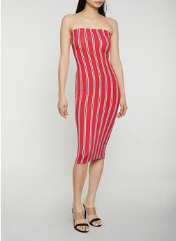 Striped Soft Knit Midi Tube Dress - 0094073372902