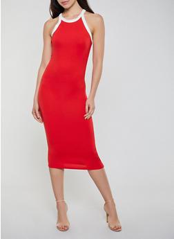 Soft Knit Contrast Trim Tank Dress - 0094073373401