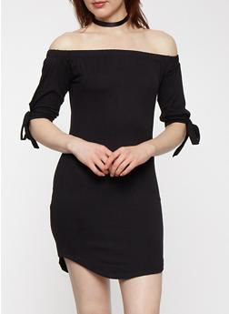 Soft Knit Off the Shoulder Dress - BLACK - 0094073374660