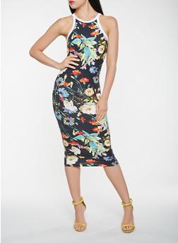 Floral Contrast Trim Midi Tank Dress - 0094073375025