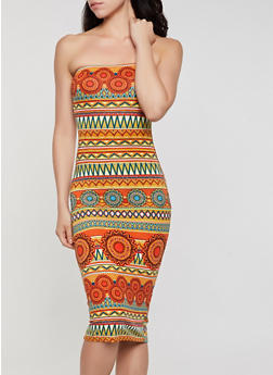 Tribal Print Soft Knit Tube Dress - 0094073378007
