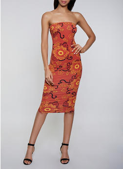 Flower Print Tube Dress - 0094073378008