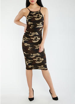 Soft Knit Camo Midi Tank Dress - 0094073379657