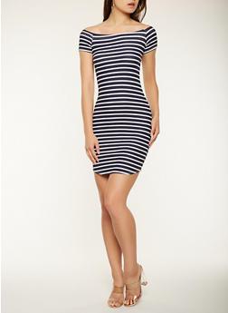 Striped Off the Shoulder Dress - NAVY - 0094074011265