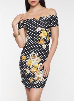 Printed Off the Shoulder Dress - 0094074011614