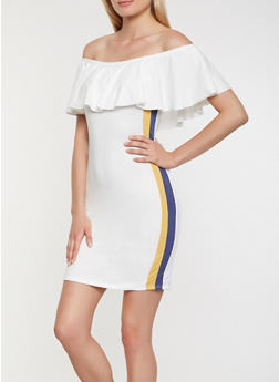 Side Stripe Off the Shoulder Dress - 0094074014245