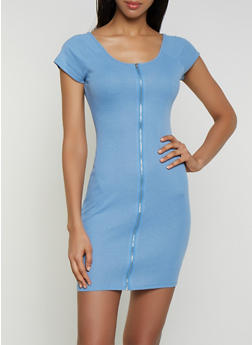 Ribbed Zip Front Bodycon Dress - 0094074280166