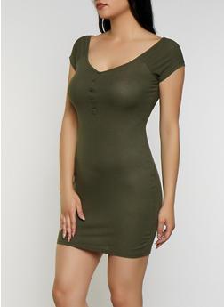 Ribbed Henley Dress - 0094074280190