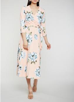 Floral Faux Wrap Midi Dress - 0094074280466