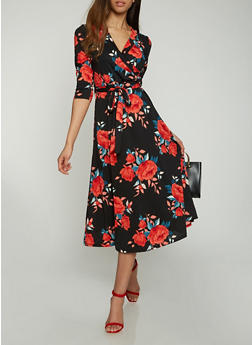 Faux Wrap Floral Midi Dress - 0094074280467
