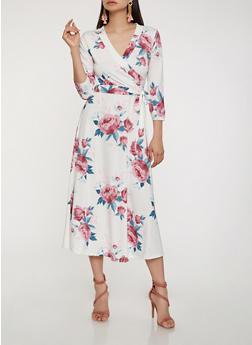 Faux Wrap Floral Midi Dress - 0094074280467