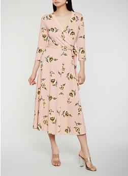 Floral Faux Wrap Dress - 0094074280470