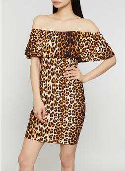 Textured Animal Print Off the Shoulder Dress - 0094074281178