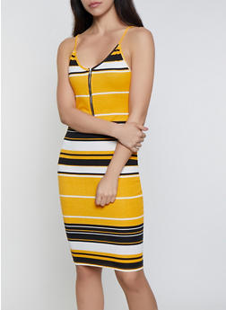 Striped Zip Neck Bodycon Dress - 0094074282513