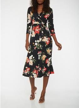 Printed Faux Wrap Dress - 0094074283103