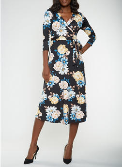 Floral Faux Wrap Midi Dress - 0094074283104